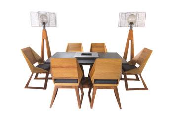 Quan Garden Art table de grill avec 6 chaises (modele d'exposition)